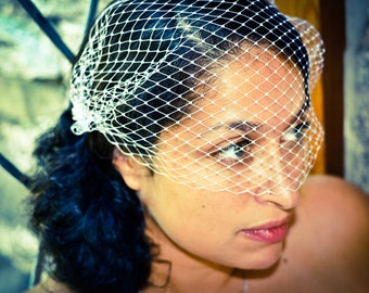 Bandeau Style Veil Blusher 9 inch French Net Ivory Wedding Bridal Birdcage Veil