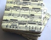 Coasters. Music coasters. Sheet music. Classical music. Piano music. Coaster set. Ceramic coasters.