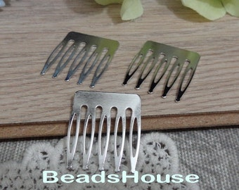 12pcs Silver Plated Hair Barrette and  5 Pins .NICKEL FREE