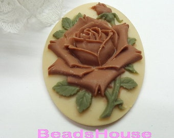 22%off 90-00-CM 2pcs (30 X 40mm) Pretty Rose Oval Cameo- Brown Rose