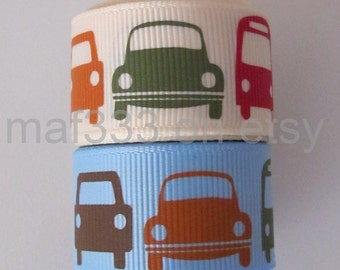 "A0016 - 6 YARDS TOTAL Kawaii Cars 7/8"" Light Blue  and Cream Grosgrain Ribbon for scrapbooking, bowmaking, accessories"