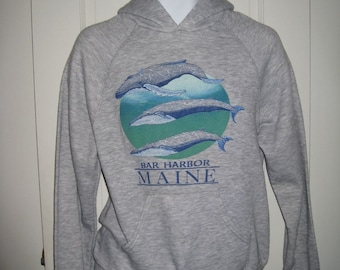 Vintage 1980's Maine Whales Bar Harbor Souvenir Heather Gray hooded Hoodie Tri Blend Sweatshirt size Medium