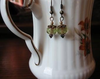 Green Czech Glass Earrings