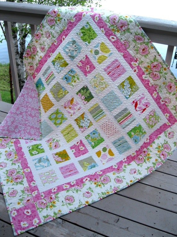 RESERVED Simply NICEY JANE 54x60 quilt in soft, vintage colors of pink, kiwi, yellow, robins egg blue