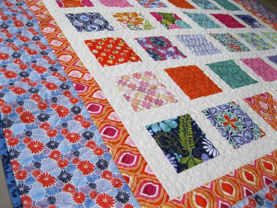 Simply TERRAIN 54x60 quilt in orange, turquoise, fuschia and purple