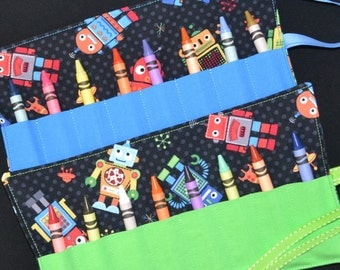 Colorful Robots Crayon Roll Party Favors - Boys Birthday Girls Birthday - Robot Party - Red Green Blue Yellow - Easter Gift