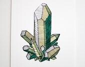 Peridot Gemstone // Silkscreen Print // Leo