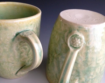 Ready to ship, Set of two, wheel thrown, textured, stamped, stoneware, handmade mugs,