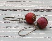 Woodland Earrings / Rustic Earthy Earrings / Dangle Earrings / Red Agate Earrings / Cranberry Earrings / Brass Earrings
