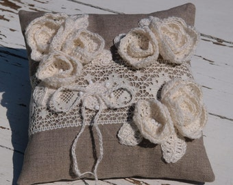 Burlap Ring Pillow Ring Bearer Pillow  Natural Linen Wedding Ring Pillow with Linen Roses  Rustic Weddings