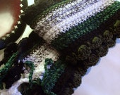 Hand Crocheted Scarf in mixed fibers - Winter Tracks