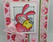 Handmade Card, Greetings, Gift, Easter, Spring Bunny Hugs