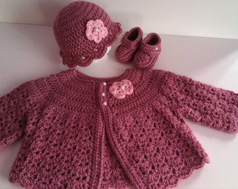 Crochet Baby Sweater Hat Booties Set, size Six to Nine Months, Rose Pink