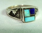 Zuni Inlay RING with OPAL Size 9 Sterling Silver