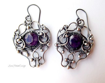 Wire Wrapped Sterling Silver Dangle Earrings With Purple Amethyst.