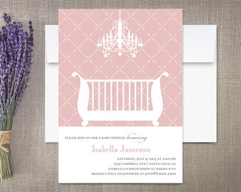 Chandelier Crib Baby Shower Invitation Girl