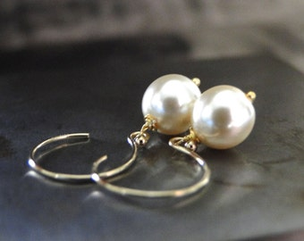 14k Gold Jewelry, Earrings, Pearl Earrings, Statement Earrings Wedding Champagne Pearl Drop Earrings, 14k Gold Filled Hoops, Accessories