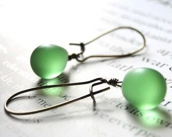 Drop Earrings, Dangle Earrings, Boho Chic Jewelry, Earrings Matte Green Glass, Accessories, Gift for Her, Gift Box