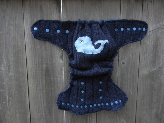 Upcycled Wool Nappy Cover Diaper Wrap Cloth Diaper Cover One Size Fits Most  Navy Blue With Whale Applique