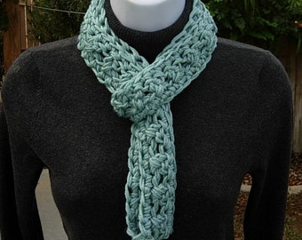 SUMMER SCARF Infinity Loop, Solid Seafoam Blue Green Teal, Soft Light Skinny Small Cowl, Crochet Necklace, Neck Tie