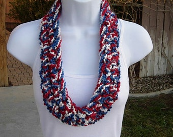 Red White and Blue SUMMER SCARF Infinity Loop, Patriotic American, 4th of July, Small Skinny Cowl, Large Crochet Necklace..Ready to Ship