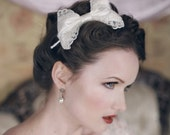 ALICE Ivory Lace and Satin Bow Headband