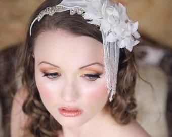 WATERFALL  Beaded Rhinestone Floral Callalily Bridal Headband