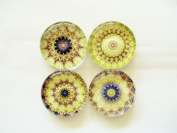Large Set of 4 Glass Magnets- Green Mandala