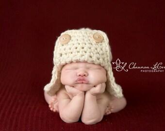 AVIATOR Bomber Hat Newborn Baby Photography Prop Cream