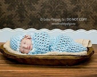 Newborn Cocoon and Beanie Hat Set in Baby Blue