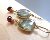 LAST PAIR - Flashy Labradorite bezel Garnet Onion Drop gold Earrings. Handmade earrings. Birthstone earrings. January birthday.