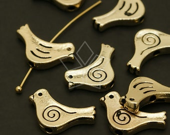 AC-487-GD / 8 Pcs - NEW Little Bird Metal Beads, Gold Plated over Pewter / 14.5mm x 9mm
