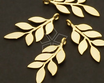 PD-566-MG / 2 Pcs - Slander Leaves Pendant, Matte Gold Plated over Brass / 11mm x 21mm