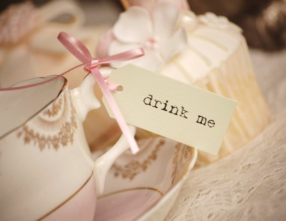 drink me Teacup Tags - pastel green with pastel pink ribbon - set of 10