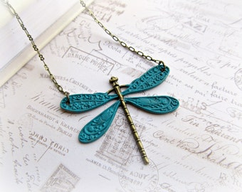 Hand Painted Turquoise Dragonfly necklace