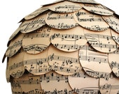 The Eco Home Lamp Shade Paper Lantern Vintage Sheet Music Lighting Handmade to Order