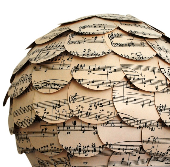 Handmade Paper Lamp Shade Eco Home Lampshade Paper Lantern Vintage Sheet Music Lighting