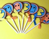 Set of 12 Pacman Video Game Cupcake Toppers - handmade paper pieced