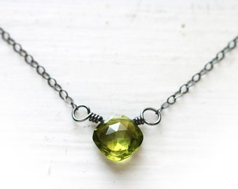 Green Peridot Necklace, Cushion Diamond Square Shape Oxidized Sterling Silver, August Birthstone - The Witch's Gem