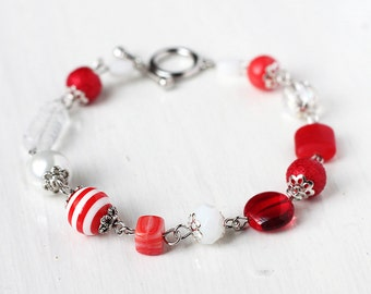 Red and White Bracelet Bridesmaid Jewelry with Czech Glass Beads and Glass Pearls - Great for Christmas Wedding Cherry Red Striped