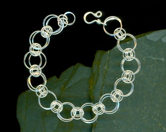 Chainmaille Silver Chain Link Sterling Bracelet Hammered Wire Jewelry Silver