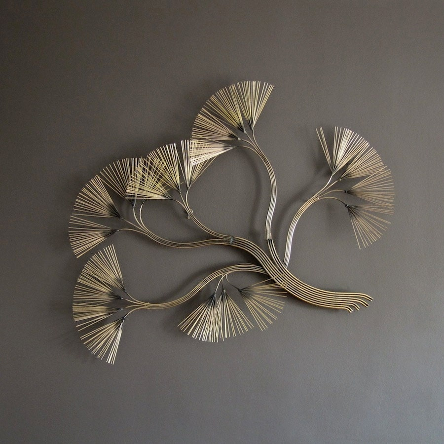 Curtis jere metal wall sculpture 1980s flowering branches for Bronze wall art