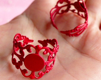 Ring Blank Findings with 8mm Pad (2 pcs / Red) Adjustable Filigree Ring Base Jewelry Making Jewellery Findings Ring Making Supplies F027
