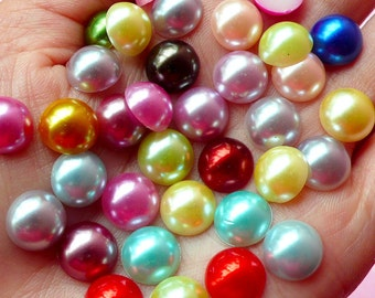 10mm Assorted Faux Pearl Cabochons Mix / Colorful Pearl Mix (Round / Half) (40pcs) PEMC16