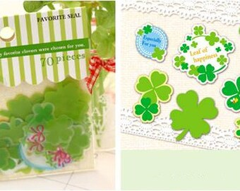Four Leaf Clover Sticker Set (70pcs) - Scrapbooking Packaging Party Gift Wrap Diary Deco Collage Home Decor S031