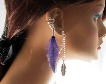 Ear Wrap Purple Grizzly And Antiqued Feather Chain