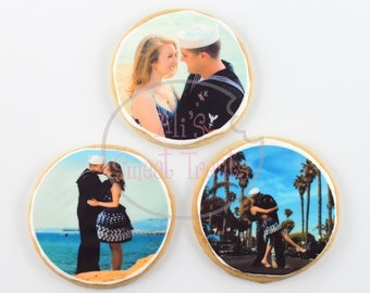 "One Dozen Custom 3.5"" Round  Photo Cookies"