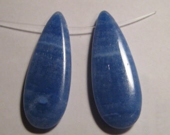 Blue Lace Agate pendant beads .....2 pieces .......   43 x  16 x 6 mm    ....     a963