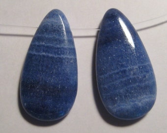Blue Lace Agate pendant beads .....2 pieces .......   31 x  16 x 5 mm    ....     a971
