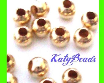200pcs 2mm 14k yellow gold filled seamless round bead spacers tiny bead GS52
